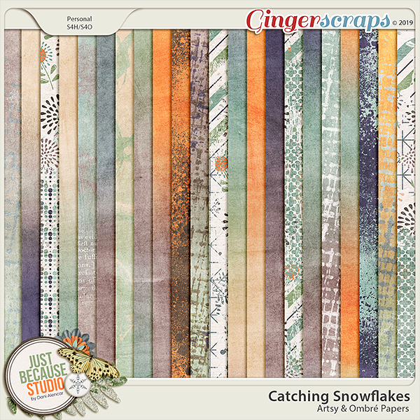 Catching Snowflakes Artsy and Ombré Papers by JB Studio