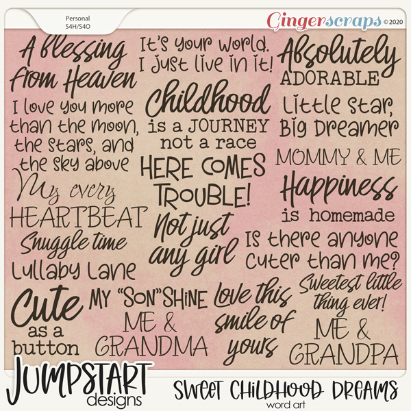 Sweet Childhood Dreams {Word Art}