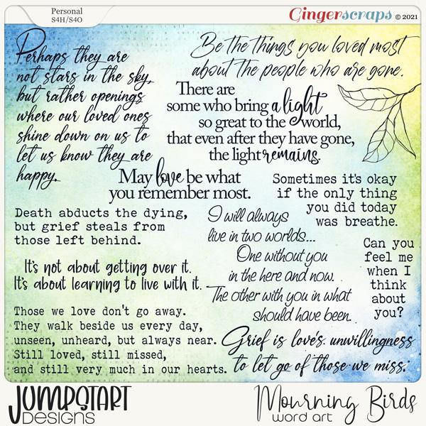 Mourning Birds {Word Art} by Jumpstart Designs