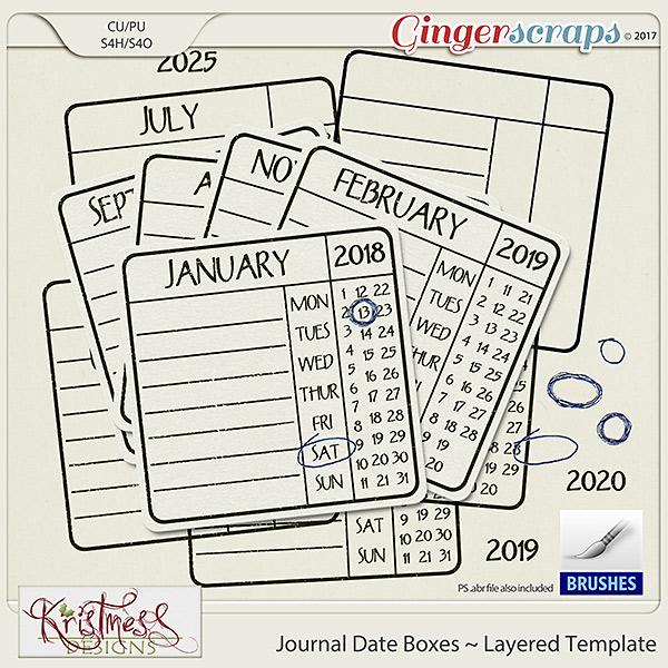 CU Date Journal Box Layered Template