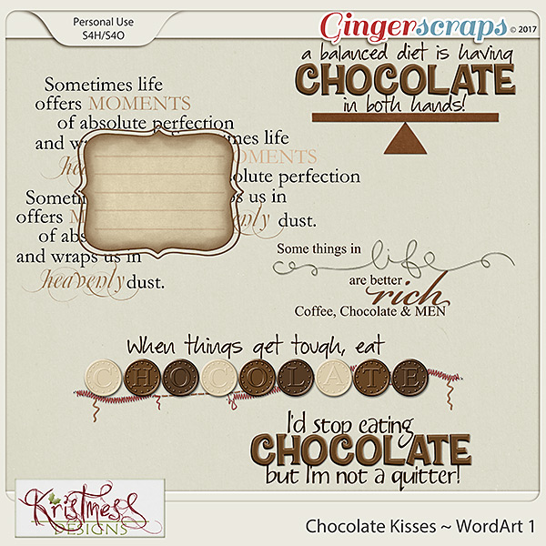 Chocolate Kisses WordArt Clusters