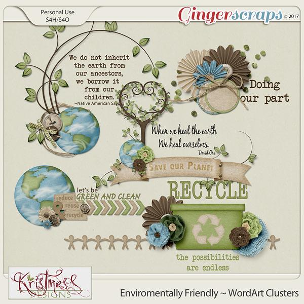 Environmentally Friendly WordArt Clusters
