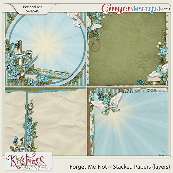 Forget-Me-Not Stacked Papers (layers)