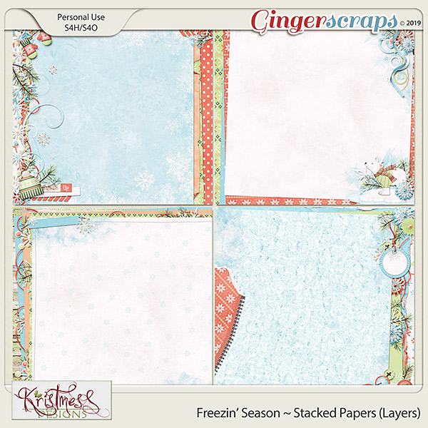 Freezin' Season Stacked Papers (layers)