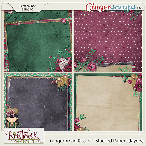 Gingerbread Kisses Stacked Papers (layers)