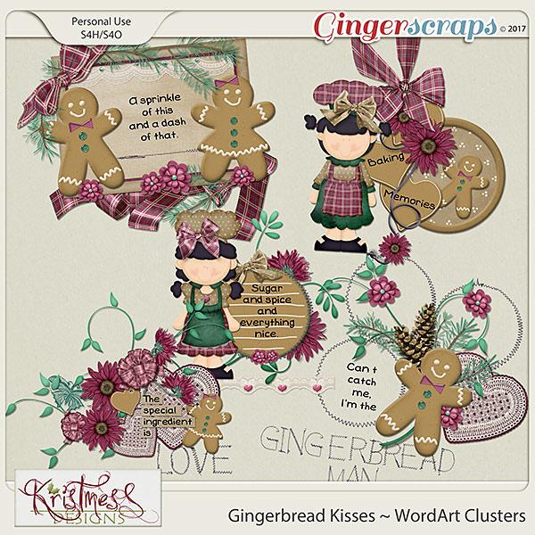Gingerbread Kisses WordArt Clusters