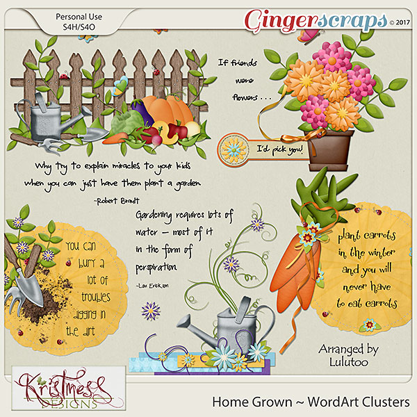 Home Grown WordArt Clusters