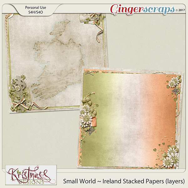 Small World ~ Ireland Stacked Papers (layers)