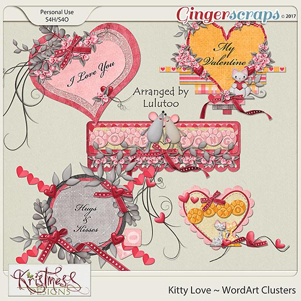 Kitty Love WordArt Clusters