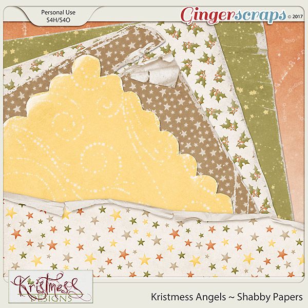 Kristmess Angels Shabby Papers