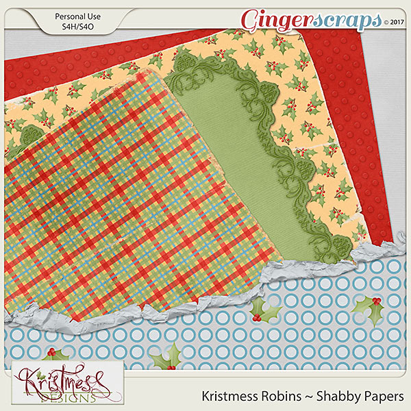 Kristmess Robins Shabby Papers