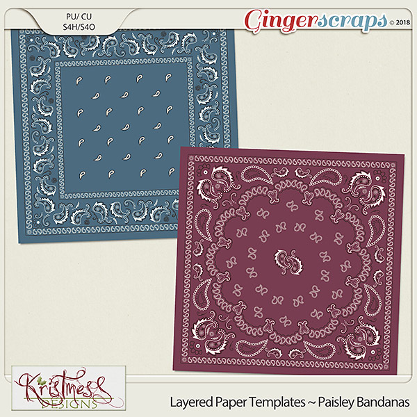 CU Layered Paper Templates ~ Paisley Bandanas