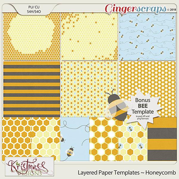 CU Layered Paper Templates ~ Honeycomb