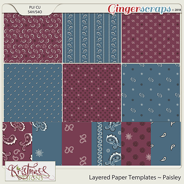 CU Layered Paper Templates ~ Paisley