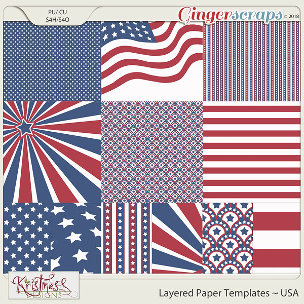 CU Layered Paper Templates ~ USA