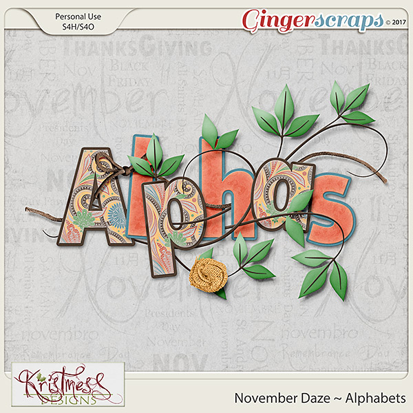 November Daze Alphabets
