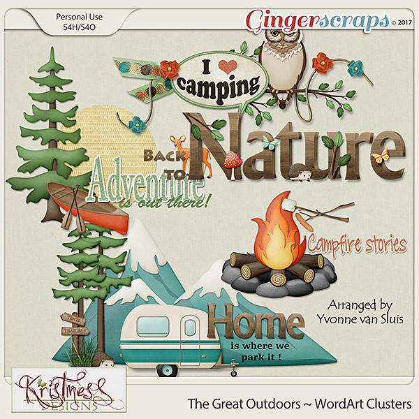 The Great Outdoors WordArt Clusters