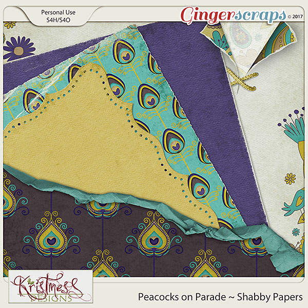 Peacocks on Parade Shabby Papers