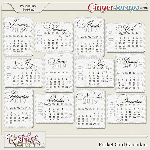 Pocket Card Calendars