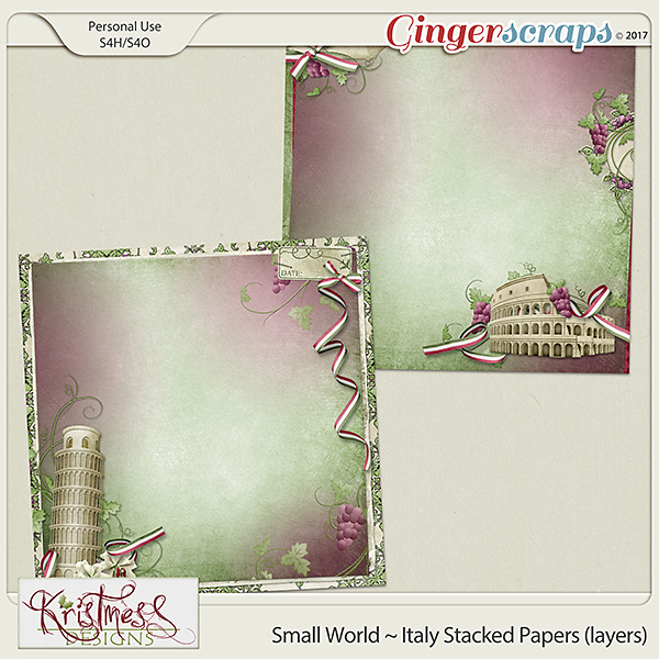 Small World ~ Italy Stacked Papers (layers)