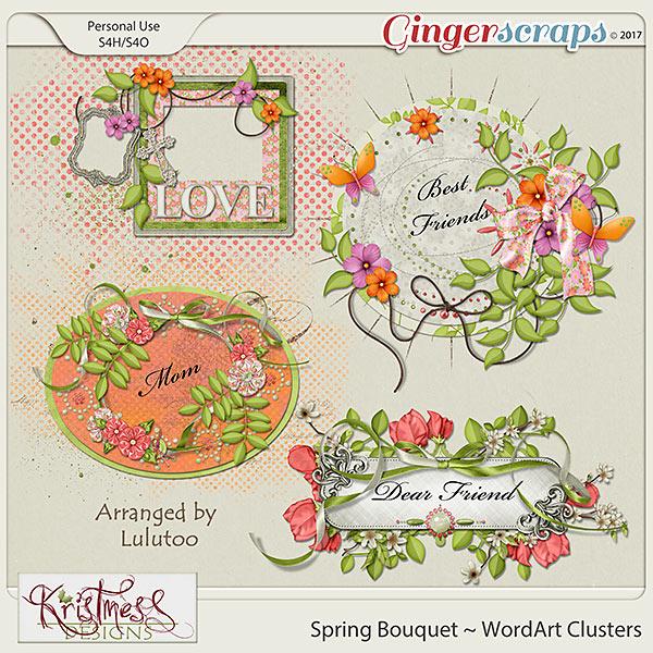 Spring Bouquet WordArt Clusters