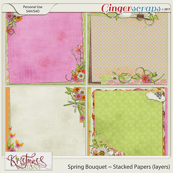 Spring Bouquet Stacked Papers (layers)