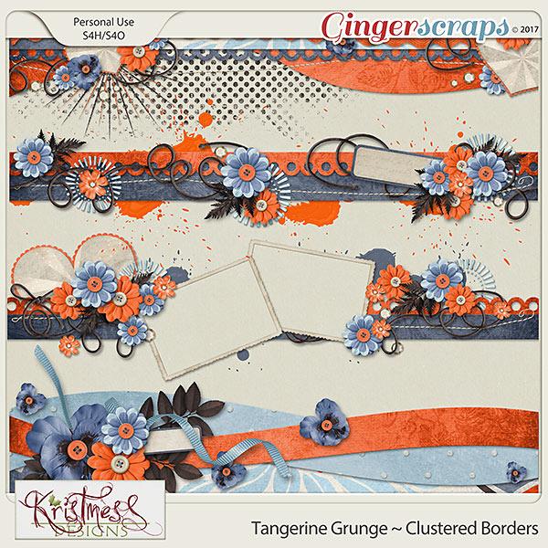 Tangerine Grunge Clustered Borders