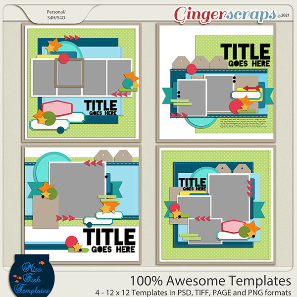 100 Percent Awesome Templates by Miss Fish