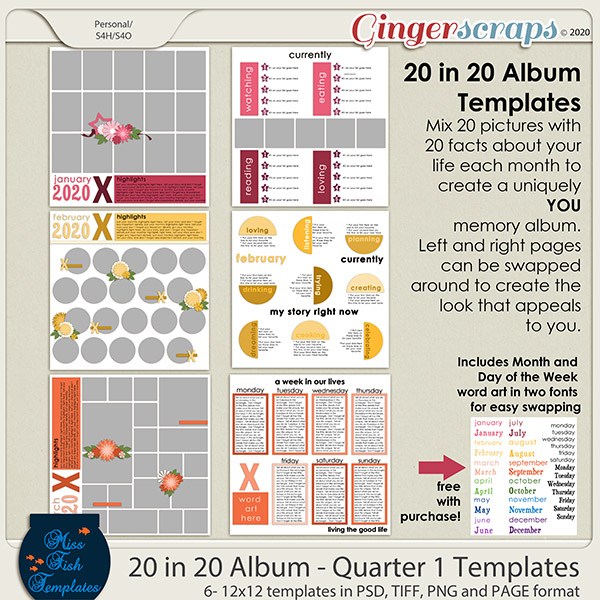 20 in 20 Album - Quarter 1 Templates by Miss Fish
