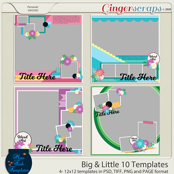 Big & Little 10 Templates by Miss Fish