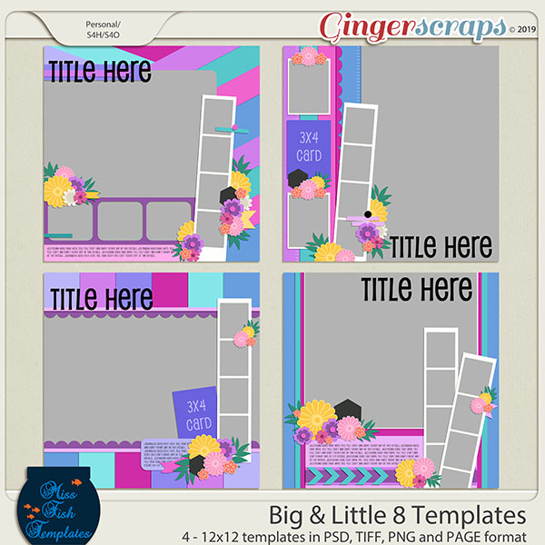 Big & Little 8 Templates by Miss Fish