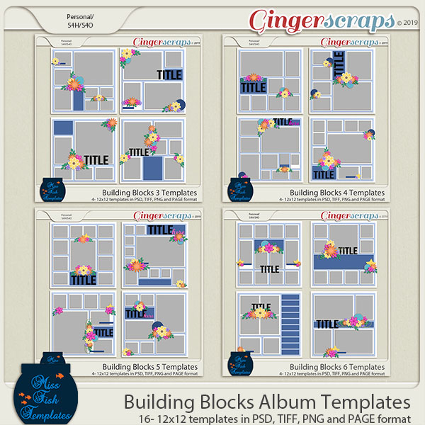 Building Blocks Album Templates by Miss Fish