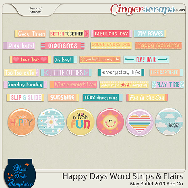 Happy Day Word Strips and Flairs by Miss Fish
