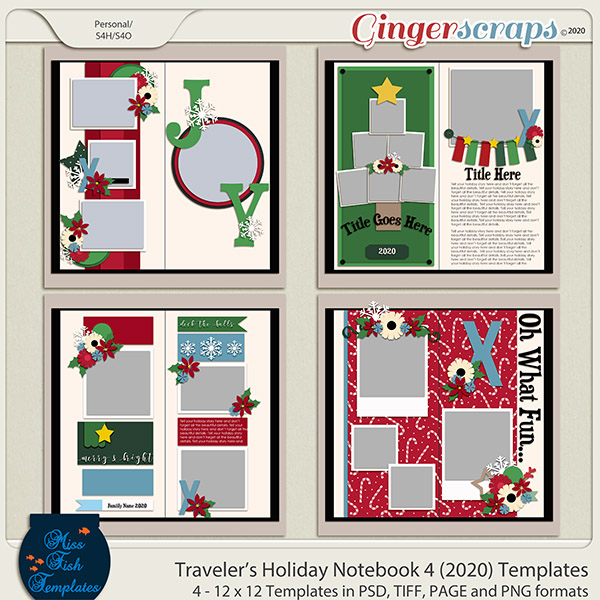 Holiday Travelers Notebook 4 Templates by Miss Fish