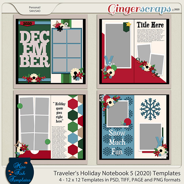 Holiday Travelers Notebook 5 Templates by Miss Fish