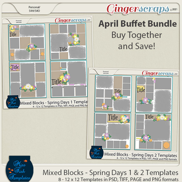 Mixed Blocks - Spring Days 1 & 2 Template Bundle by Miss Fish