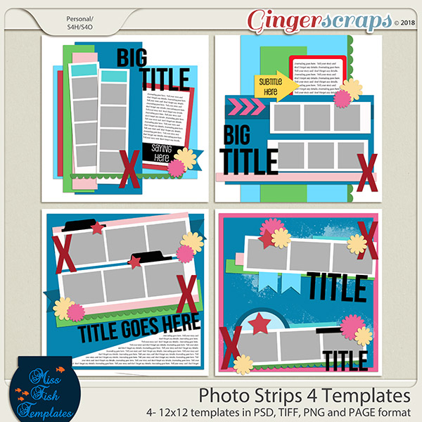 Photo Strips 4 Templates by Miss Fish