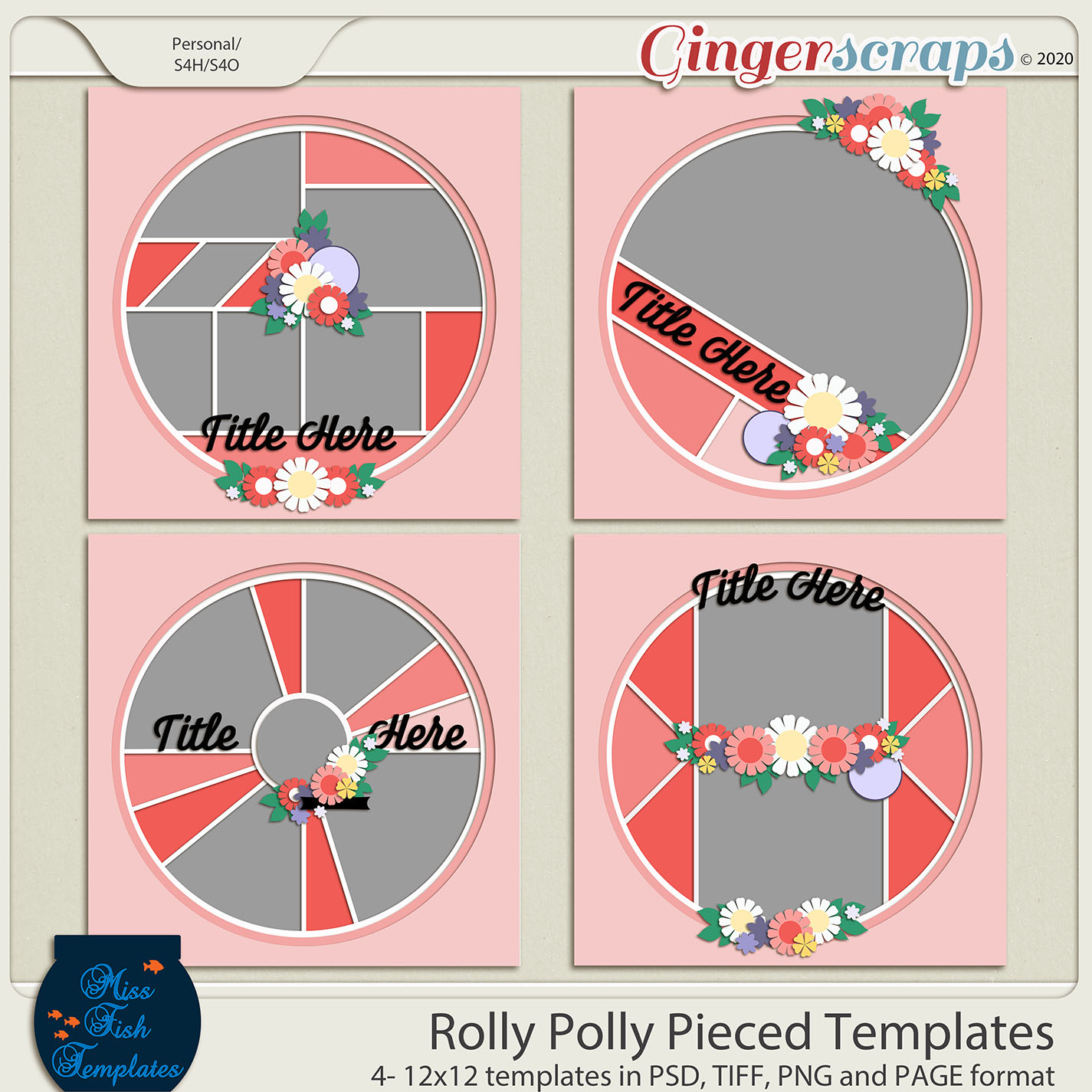Rolly Polly Pieced Templates by Miss Fish