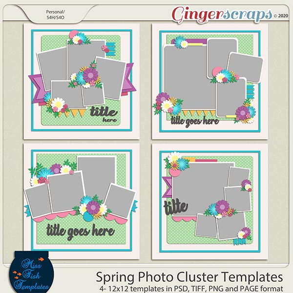 Spring Photo Cluster Templates by Miss Fish