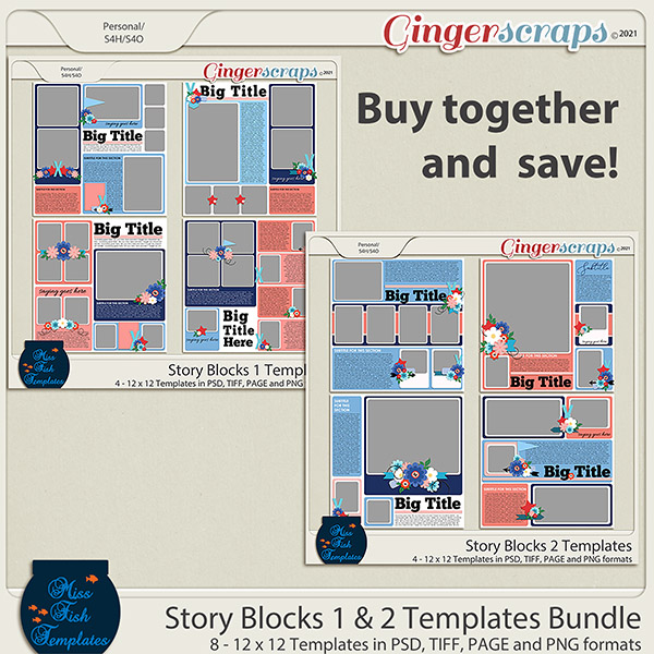 Story Blocks 1 & 2 Template Bundle  by Miss Fish