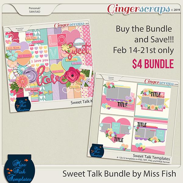 Sweet Talk Digital Scrapbooking Kit and Templates Bundle by Miss Fish