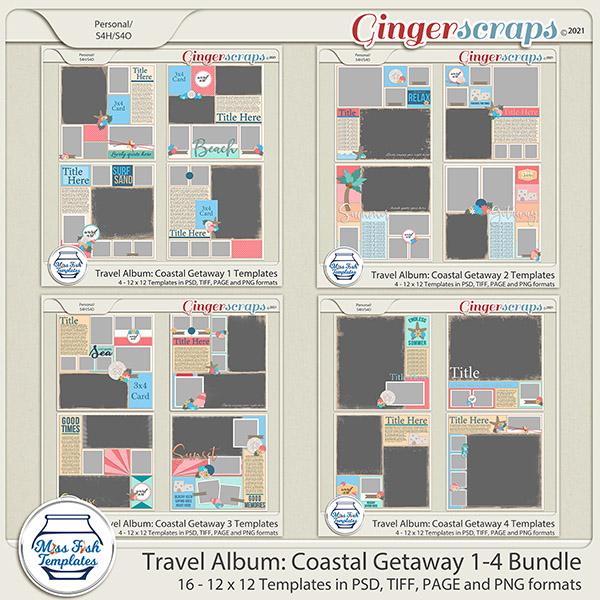 Travel Album Coastal Getaway 1-4 Template Bundle by Miss Fish