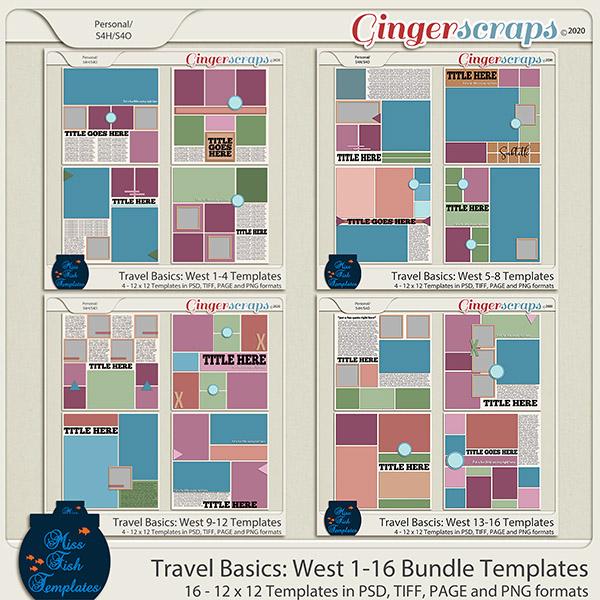 Travel Basics Album: West 1-16 Template Bundle by Miss Fish