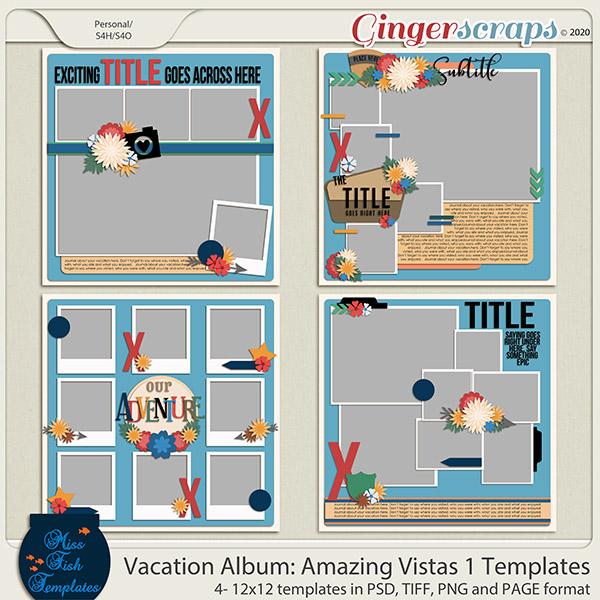 Vacation Album: Amazing Vistas 1 Templates by Miss Fish