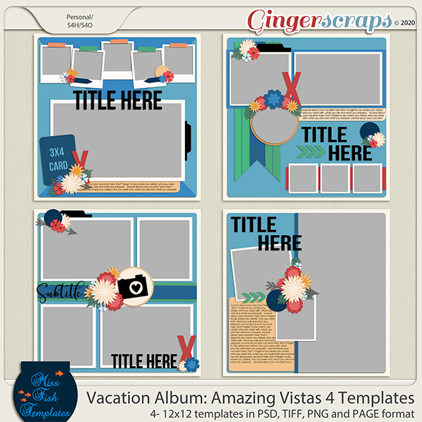 Vacation Album: Amazing Vistas 4 Templates by Miss Fish