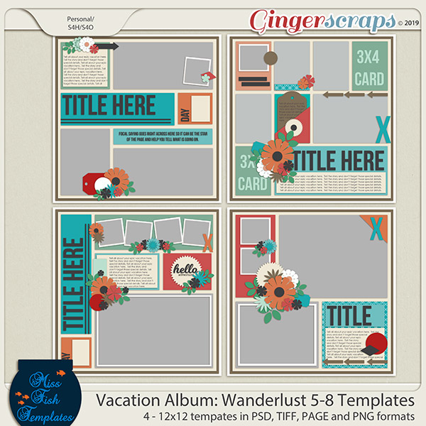 Vacation Album: Wanderlust 5-8 Templates by Miss Fish