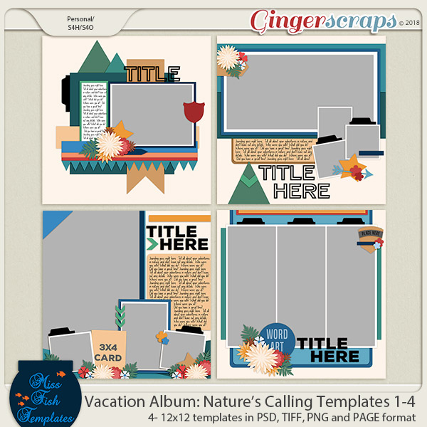 Vacation Album: Nature's Calling Templates 1-4 by Miss Fish