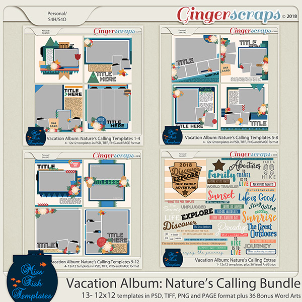 Vacation Album: Nature's Calling Templates Bundle by Miss Fish
