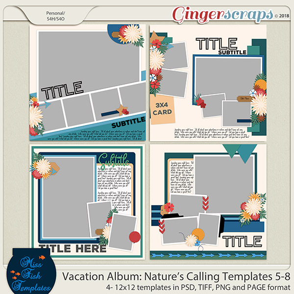 Vacation Album: Nature's Calling Templates 5-8 by Miss Fish