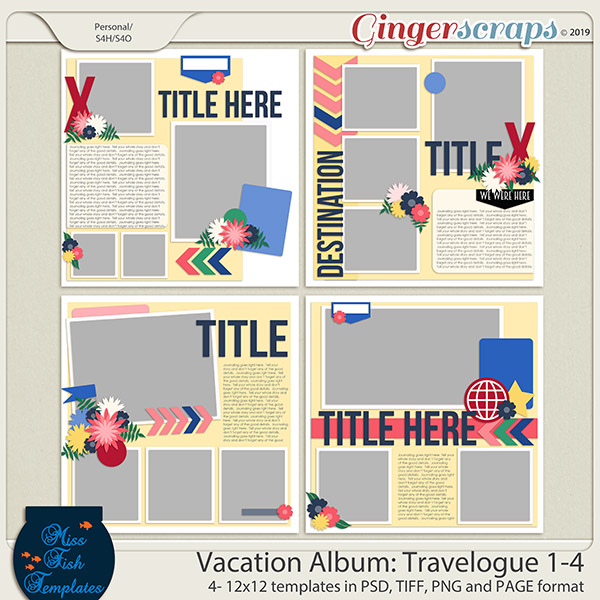 Vacation Album: Travelogue Templates 1-4 by Miss Fish